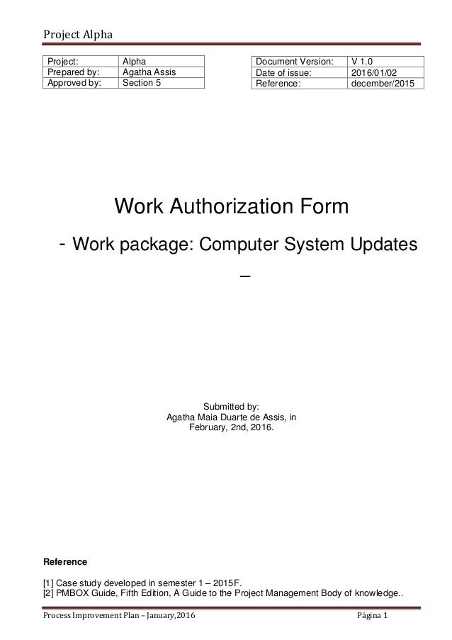 Alpha Case Study  Work Authorization  Sample