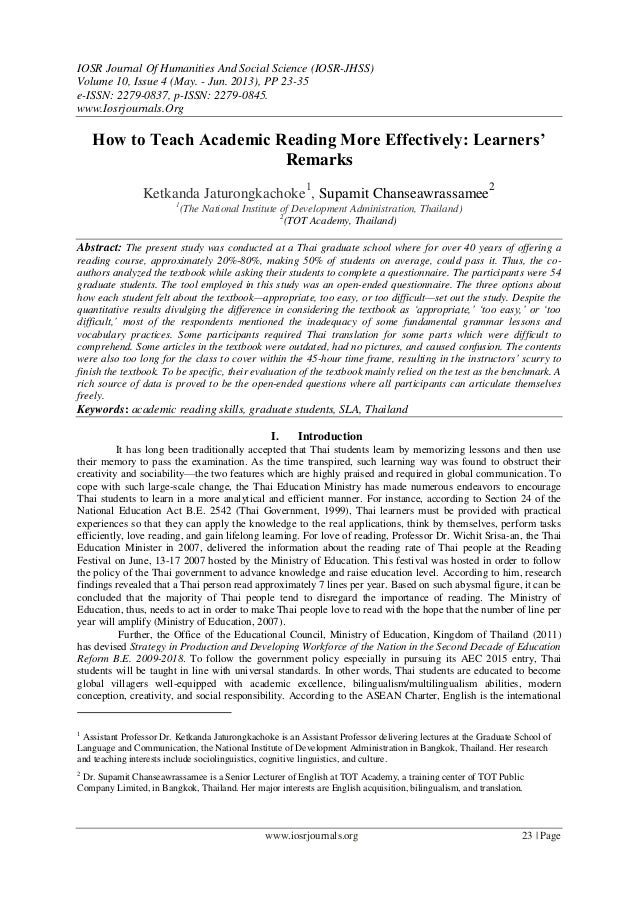 IOSR Journal Of Humanities And Social Science (IOSR-JHSS)Volume 10, Issue 4 (May. - Jun. 2013), PP 23-35e-ISSN: 2279-0837,...