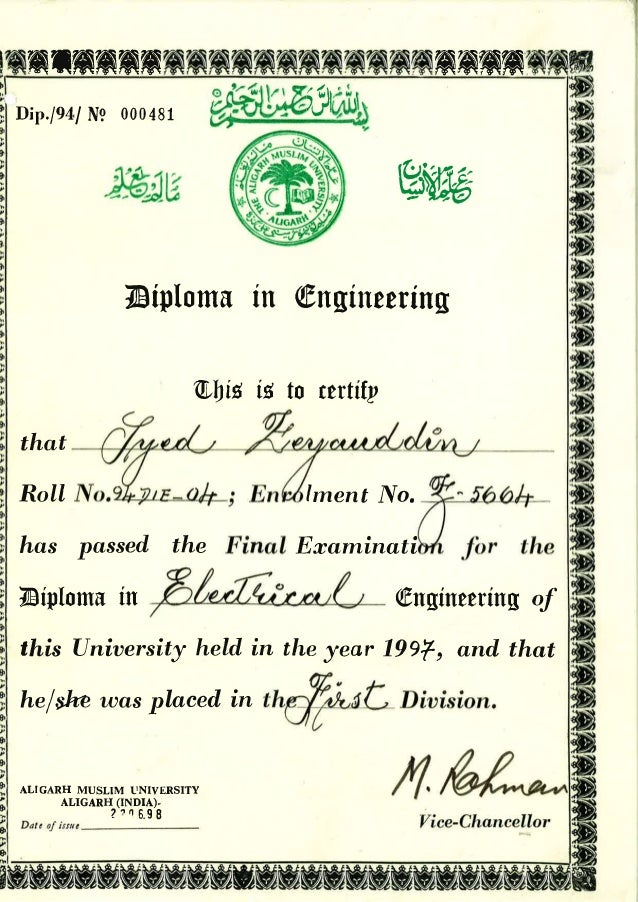 8 diploma in engineering certificate