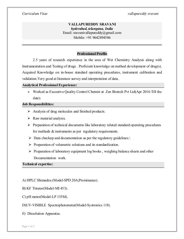 Resume Sravani M Sc Integrated Pharmaceutical Chemistry 1 1 1