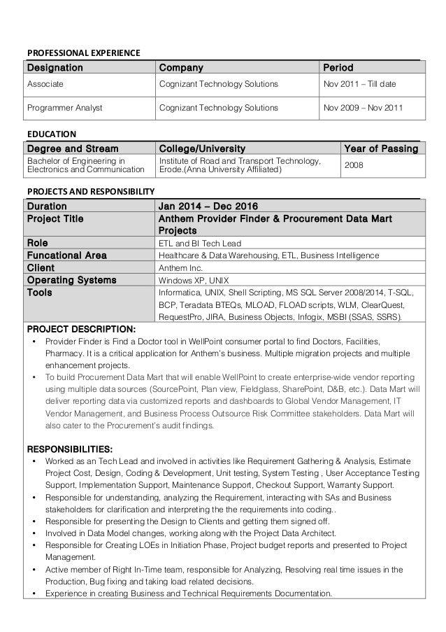 Anthem Net Developer Resume