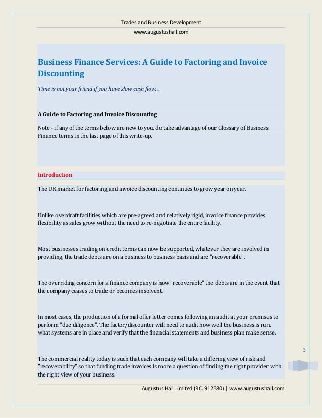 Business Finance Services A Guide To Factoring And Invoice Discount - Invoice factoring companies uk