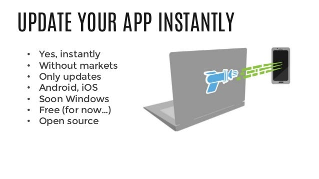 UPDATE YOUR APP INSTANTLY • Yes, instantly • Without markets • Only updates • Android, iOS • Soon Windows • Free (for now…...