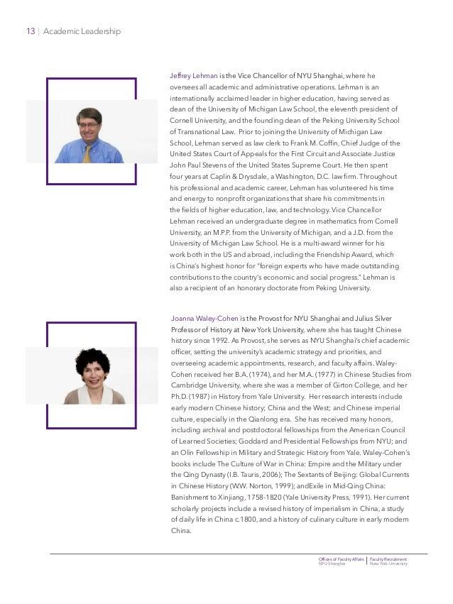 Offices of Faculty Affairs Faculty Recruitment NYU Shanghai New York University 13   Academic Leadership Jeffrey Lehman is...