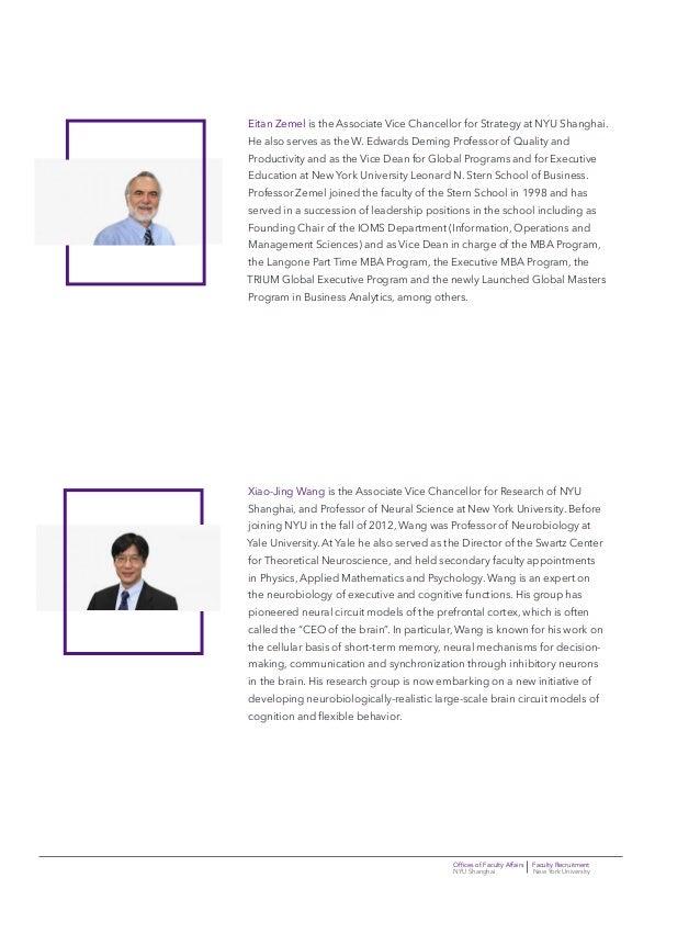 Offices of Faculty Affairs Faculty Recruitment NYU Shanghai New York University Eitan Zemel is the Associate Vice Chancell...