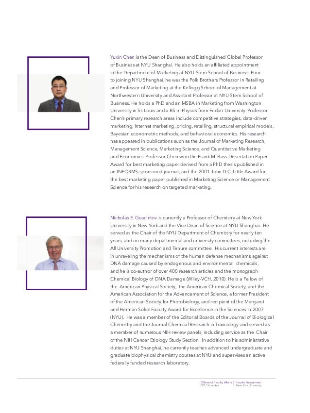 Offices of Faculty Affairs Faculty Recruitment NYU Shanghai New York University Yuxin Chen is the Dean of Business and Dist...