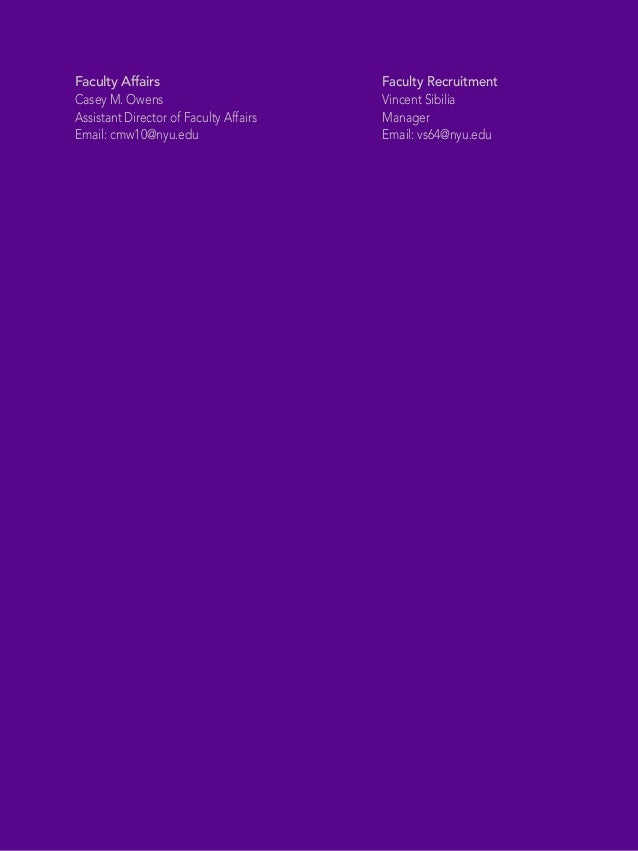 Offices of Faculty Affairs Faculty Recruitment NYU Shanghai New York University Faculty Affairs Casey M. Owens Assistant D...