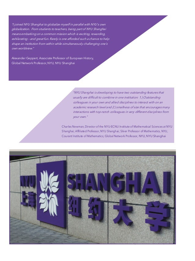 """Offices of Faculty Affairs Faculty Recruitment NYU Shanghai New York University """"I joined NYU Shanghai to globalize myself ..."""