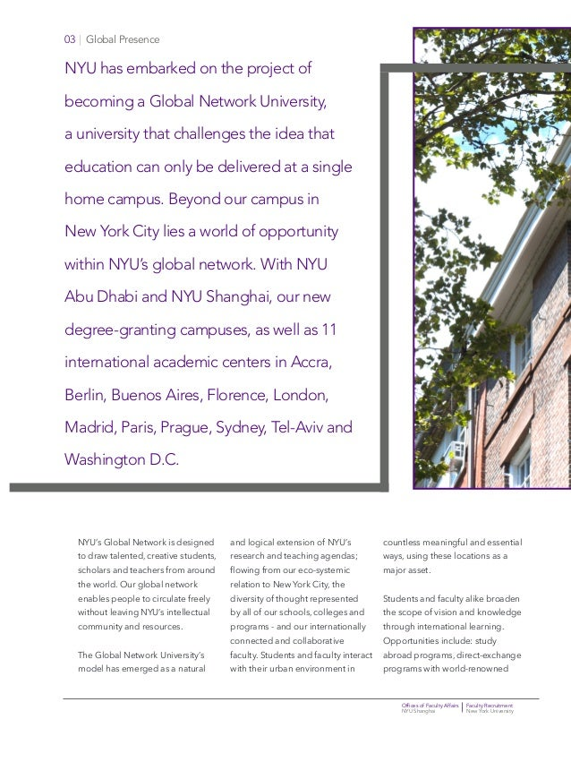 Offices of Faculty Affairs Faculty Recruitment NYU Shanghai New York University 03   Global Presence NYU has embarked on t...