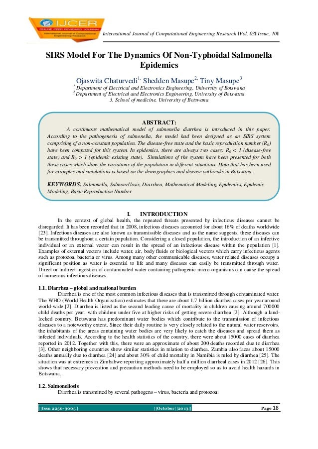 International Journal of Computational Engineering Research||Vol, 03||Issue, 10||  SIRS Model For The Dynamics Of Non-Typh...