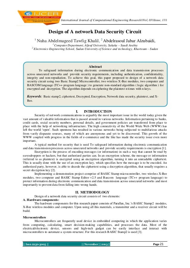 International Journal of Computational Engineering Research||Vol, 03||Issue, 11||  Design of A network Data Security Circu...