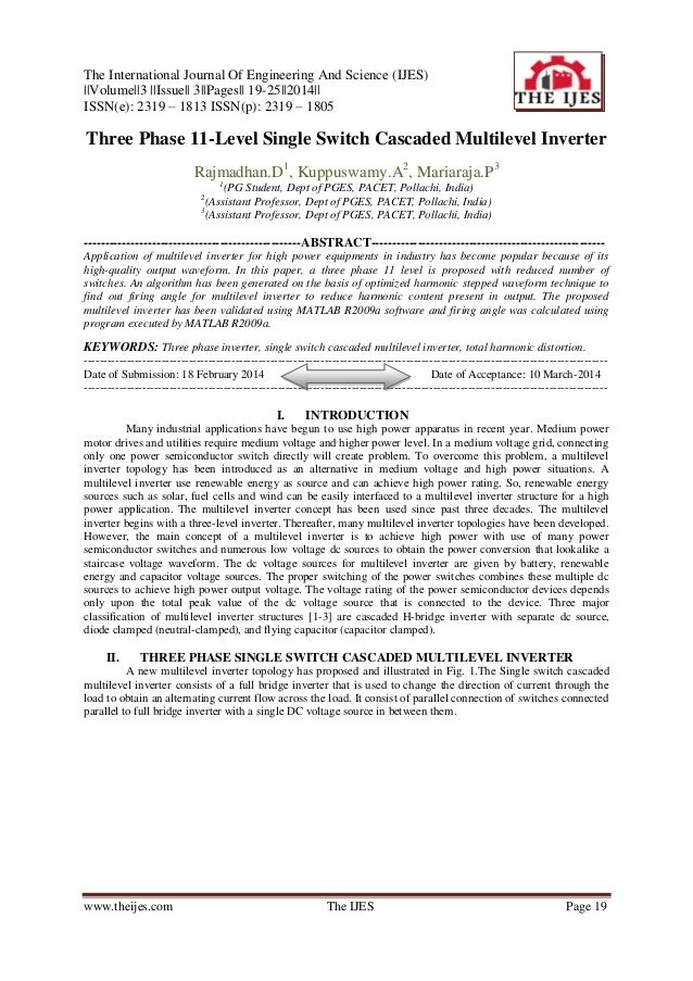 The International Journal Of Engineering And Science (IJES) ||Volume||3 ||Issue|| 3||Pages|| 19-25||2014|| ISSN(e): 2319 –...