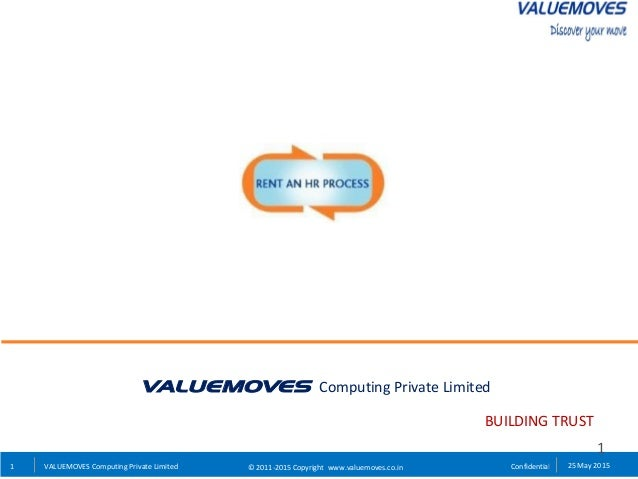 1 Confidential 25 May 2015VALUEMOVES Computing Private Limited © 2011-2015 Copyright www.valuemoves.co.in VALUEMOVES Compu...