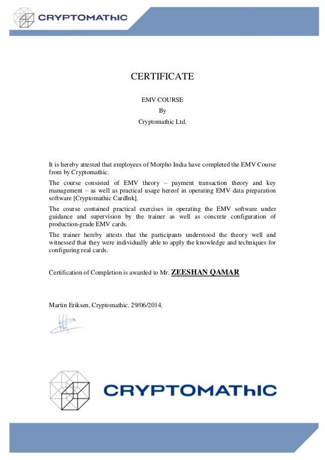 Certificate for Training Zeeshan – Certificate for Training