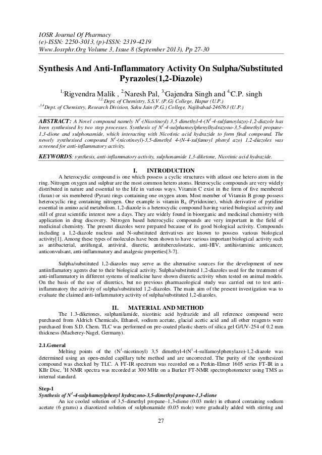 IOSR Journal Of Pharmacy (e)-ISSN: 2250-3013, (p)-ISSN: 2319-4219 Www.Iosrphr.Org Volume 3, Issue 8 (September 2013), Pp 2...