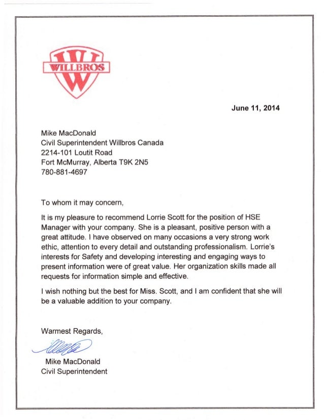 willbros reference letter