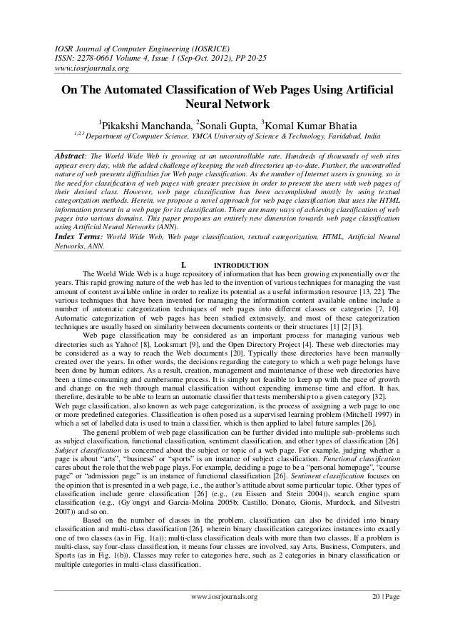 IOSR Journal of Computer Engineering (IOSRJCE) ISSN: 2278-0661 Volume 4, Issue 1 (Sep-Oct. 2012), PP 20-25 www.iosrjournal...