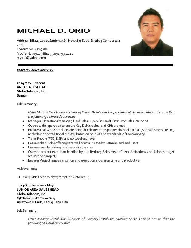Update Resume Mdorio. MICHAEL D. ORIO Address:Blk 11,Lot 21  SardonyxSt.Henaville Subd.
