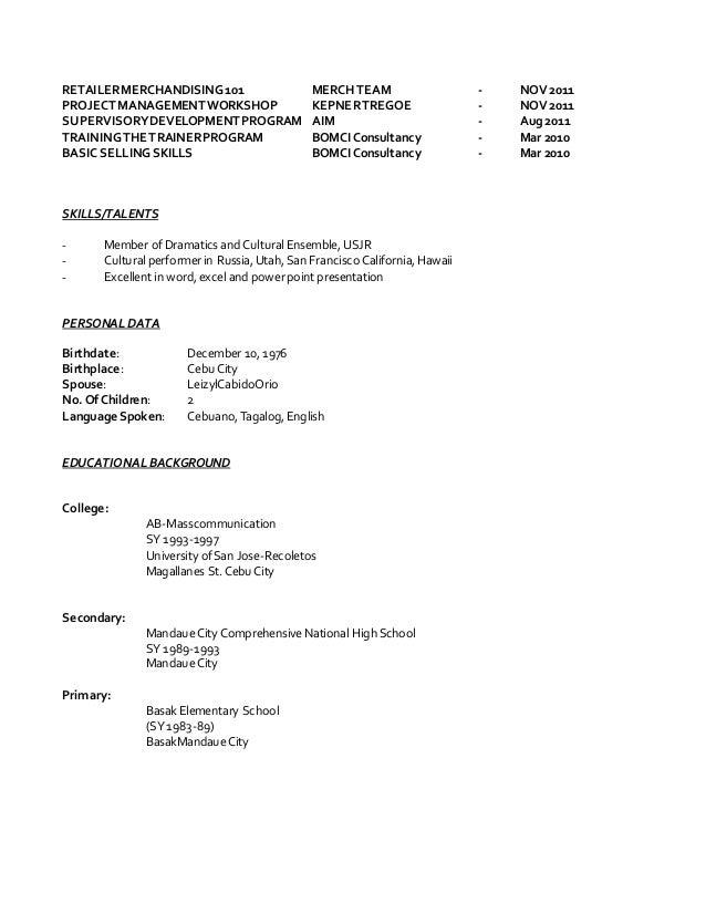 update resume mdorio