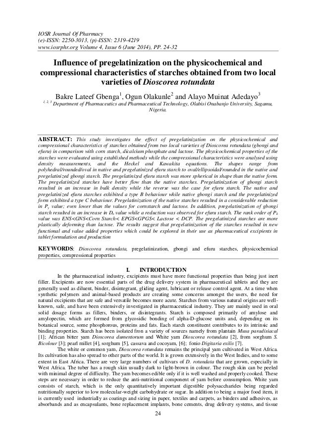 IOSR Journal Of Pharmacy (e)-ISSN: 2250-3013, (p)-ISSN: 2319-4219 www.iosrphr.org Volume 4, Issue 6 (June 2014), PP. 24-32...