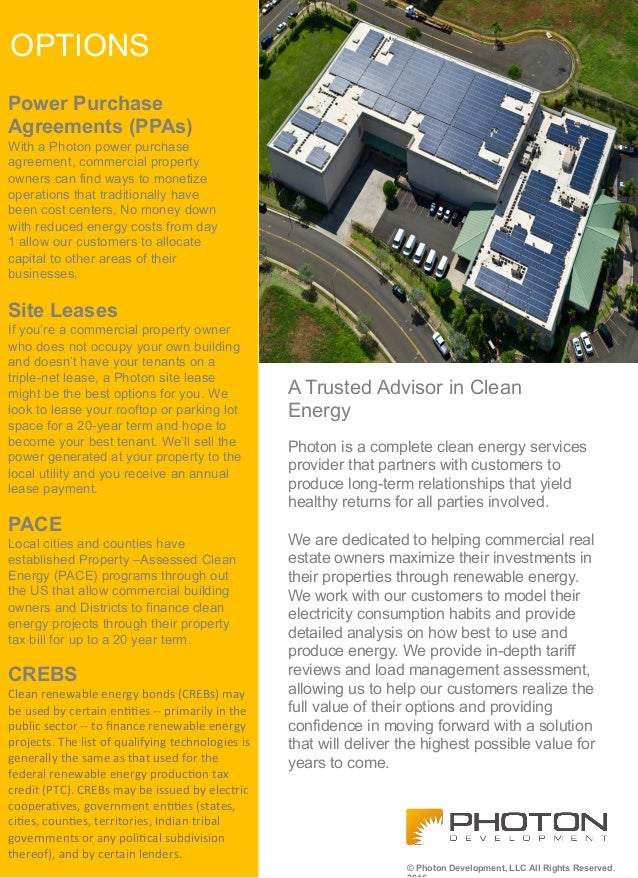 A Trusted Advisor in Clean Energy Power Purchase Agreements (PPAs) With a Photon power purchase agreement, commercial prop...