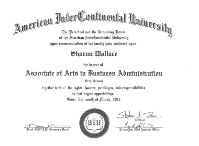 ociate of Arts in Business Administration
