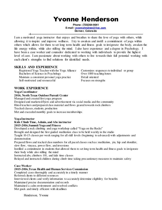 yoga instructor resume 2016 henderson yvonne yvonne henderson phone 720364 9041 e mail