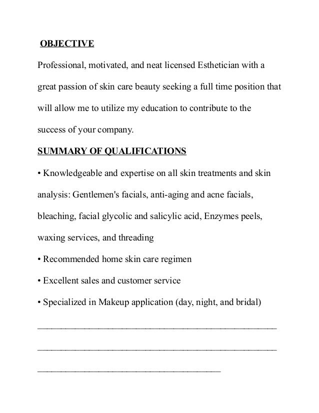 examples of a esthetician resume