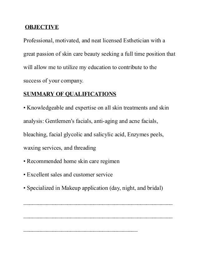 SlideShare  Esthetician Resume