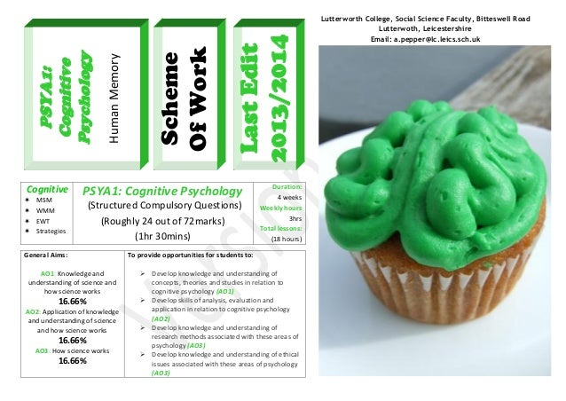      MSM WMM EWT Strategies  Last Edit 2013/2014  Scheme Of Work  Human Memory  PSYA1: Cognitive Psychology Cognitive ...
