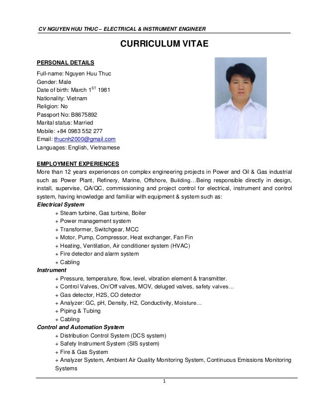 cv nguyen huu thuc electrical instrument engineer