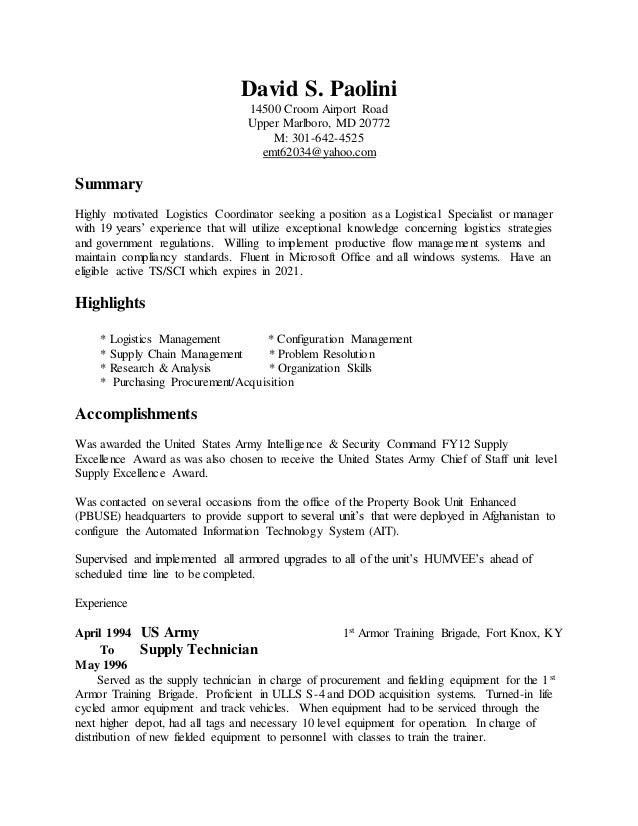 David Paolini Resume