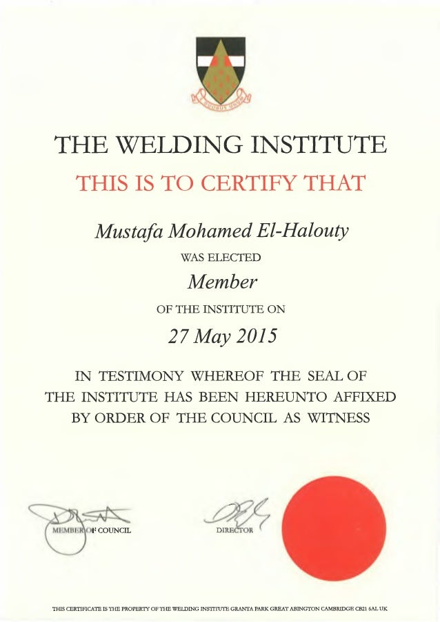The Welding Institute Membership Certificate