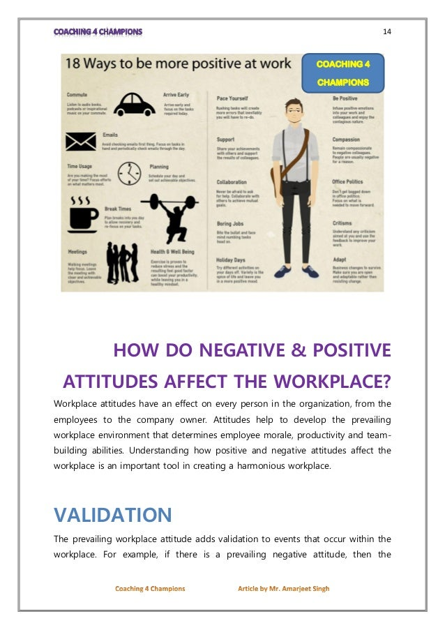 attitude in the workplace How to change your attitude at work your attitude at work plays an important role in your productivity and job performance a positive attitude is conducive to occupational success, whereas a negative attitude is counter-productive.