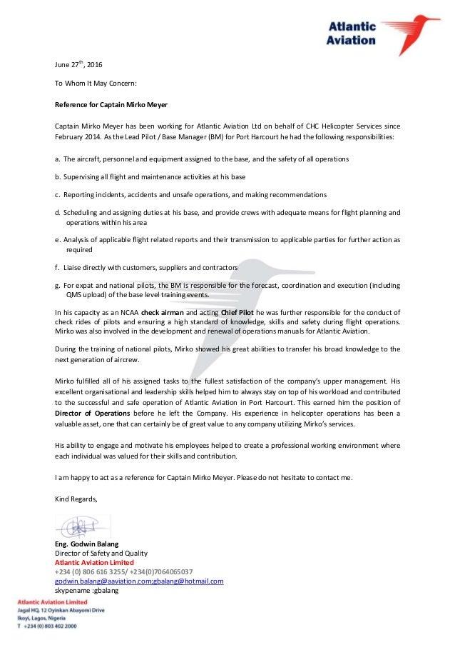 Standard Reference Letter