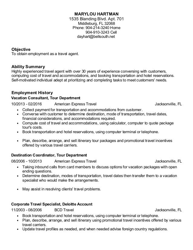 Hartman Travel Agent Resume 2016