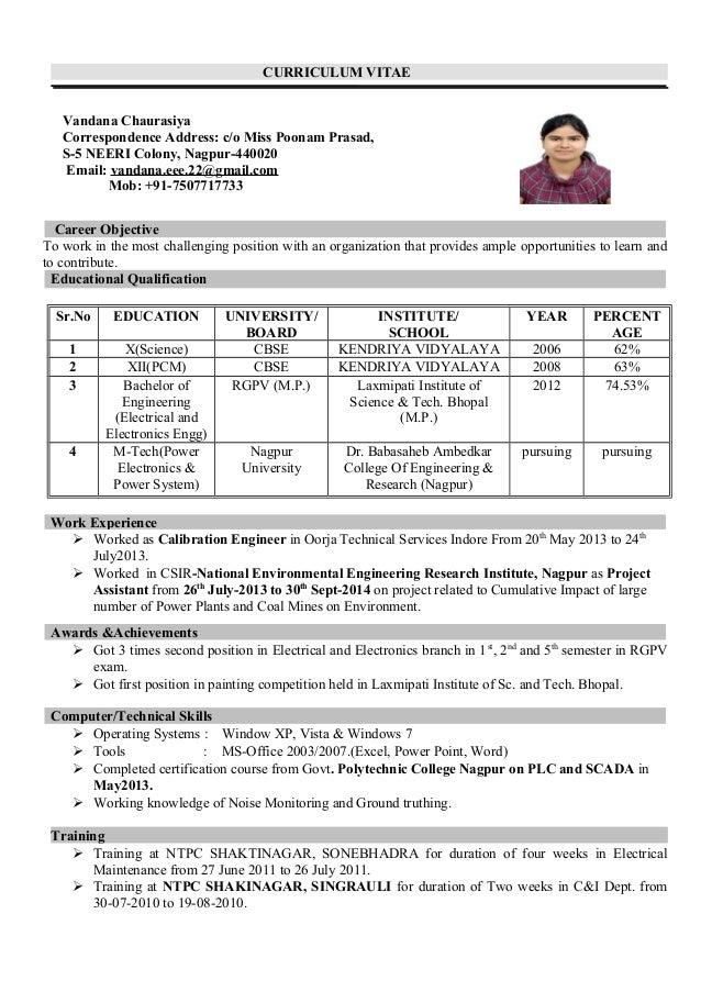 curriculum vitae vandana chaurasiya correspondence address c o miss poonam prasad - Resume I Hereby Declare