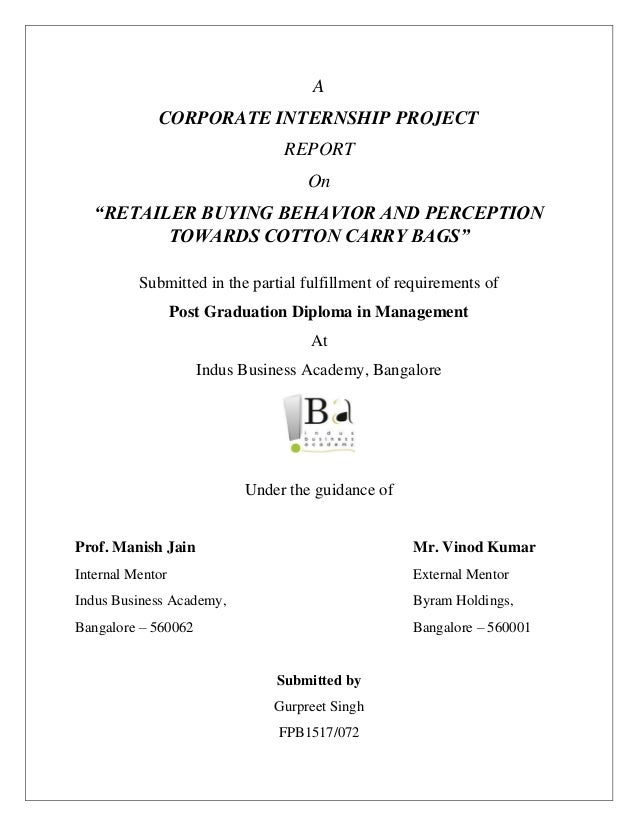 Project Report On Cotton Carry Bags