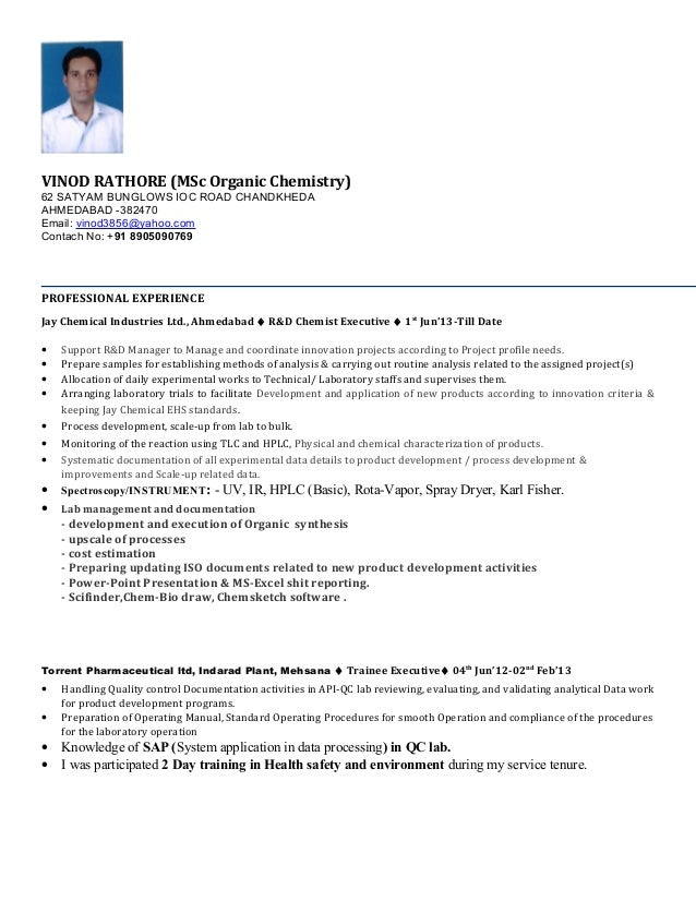 vinod resume