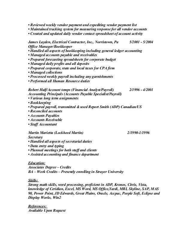 Accountant Resume Example Accounting Job Description Template Payroll  Career History