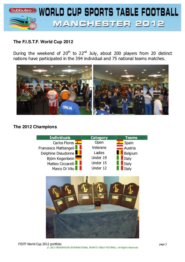 FISTF World Cup 2012 portfolio page 3 © 2012 FEDERATION INTERNATIONAL SPORTS TABLE FOOTBALL. All Rights Reserved. The F.I....