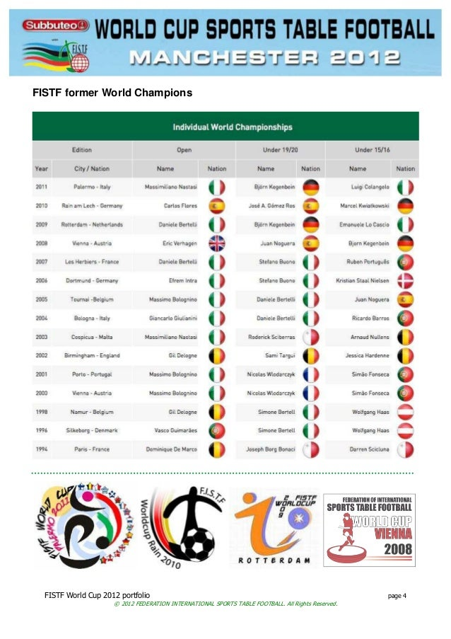 FISTF World Cup 2012 portfolio page 4 © 2012 FEDERATION INTERNATIONAL SPORTS TABLE FOOTBALL. All Rights Reserved. FISTF fo...