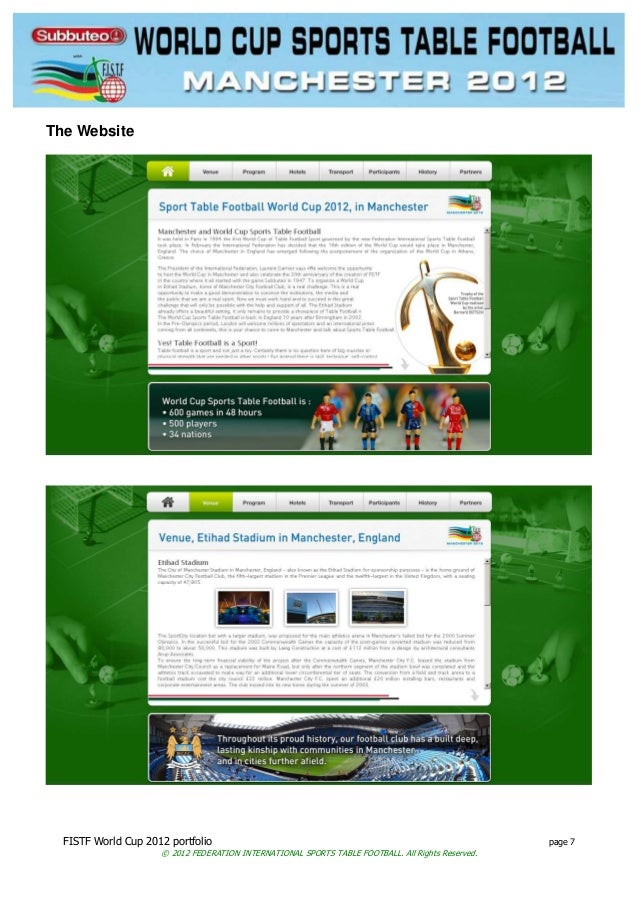 FISTF World Cup 2012 portfolio page 7 © 2012 FEDERATION INTERNATIONAL SPORTS TABLE FOOTBALL. All Rights Reserved. The Webs...