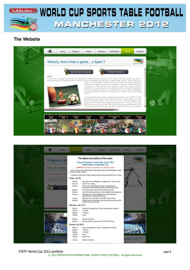 FISTF World Cup 2012 portfolio page 8 © 2012 FEDERATION INTERNATIONAL SPORTS TABLE FOOTBALL. All Rights Reserved. The Webs...