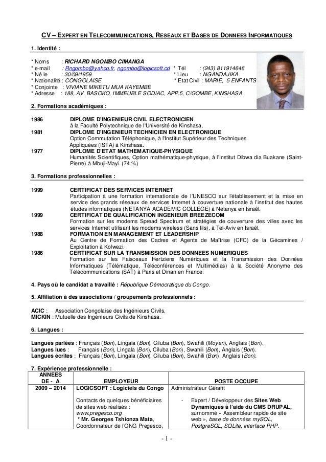 - 1 - CV – EXPERT EN TELECOMMUNICATIONS, RESEAUX ET BASES DE DONNEES INFORMATIQUES 1. Identité : * Noms : RICHARD NGOMBO C...