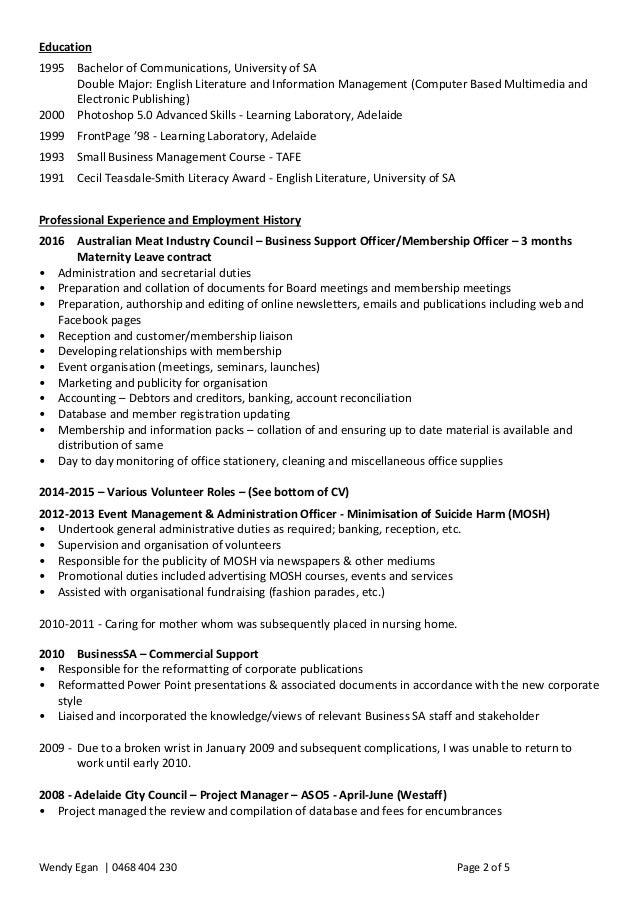 wendy egan resume october 2016