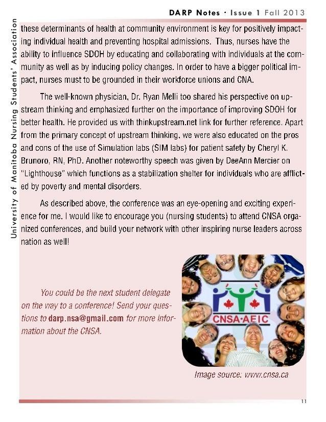 DARP Notes Issue 1 Fall 2013UniversityofManitobaNursingStudents'Association 11