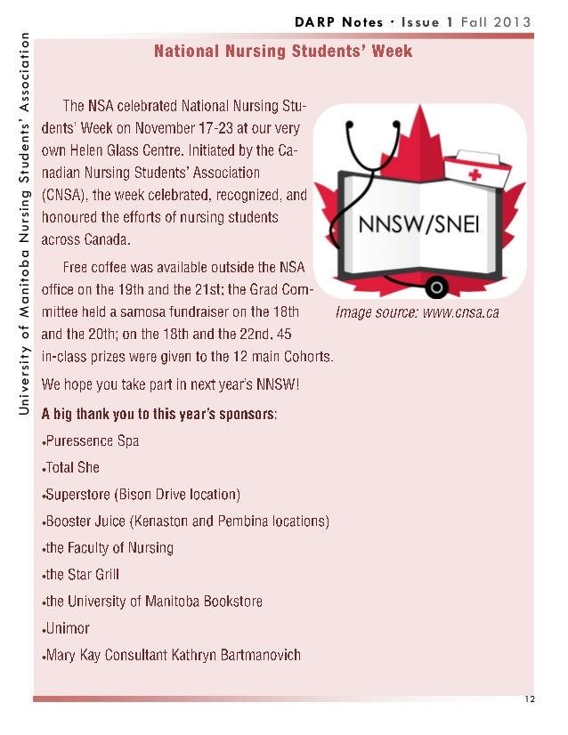          DARP Notes Issue 1 Fall 2013UniversityofManitobaNursingStudents'Association 12