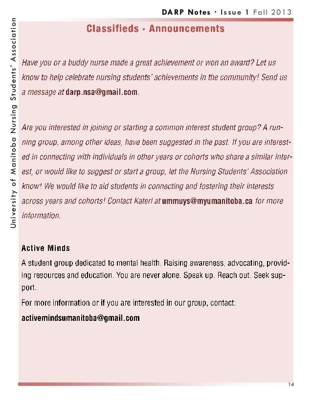 DARP Notes Issue 1 Fall 2013UniversityofManitobaNursingStudents'Association 14