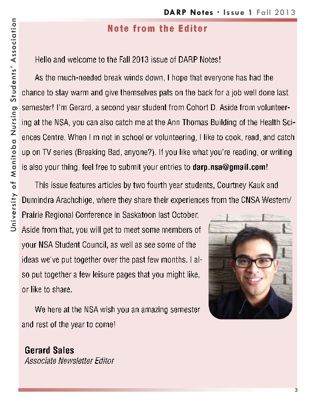 DARP Notes Issue 1 Fall 2013UniversityofManitobaNursingStudents'Association 3
